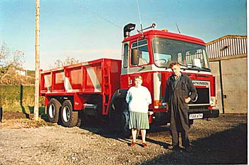 Eirwyn and Vi, with one of the new lorries